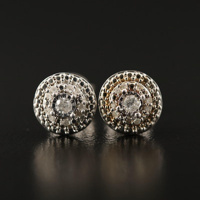Sterling Silver Diamond Multi-Halo Earrings