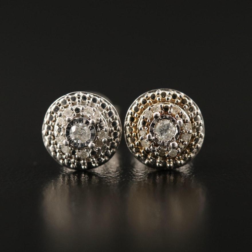 Sterling Silver Diamond Multi-Halo Earrings