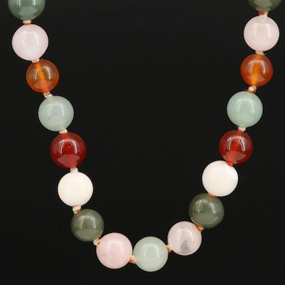 Rose Quartz, Mother of Pearl, and Carnelian Necklace
