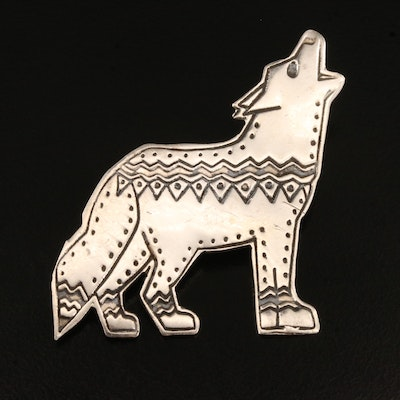 Mexican Sterling Howling Coyote Brooch