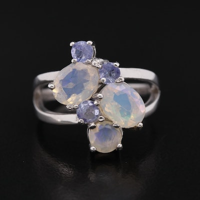 Sterling Silver Opal and Tanzanite Ring