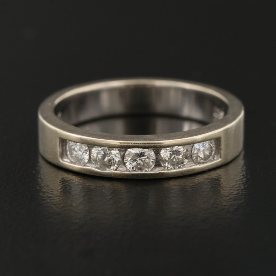 14K Diamond Five Stone Channel Band