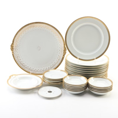 "Haviland Limoges ""Marquis"" Encrusted Gilt Porcelain Dinnerware and More"