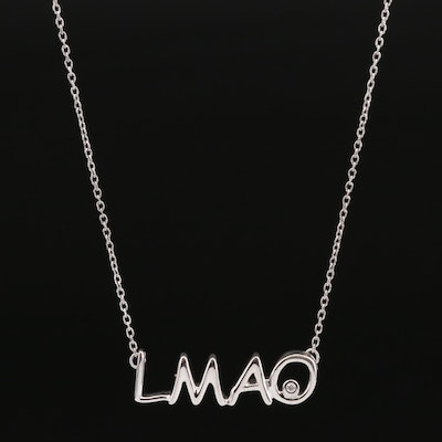 "Sterling Silver Diamond ""LMAO"" Necklace"