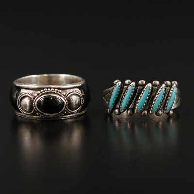 Sterling Rings Featuring Bell Trading Co., Turquoise and Black Onyx