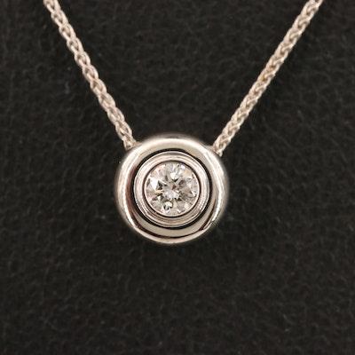 14K 0.15 CT Bezel Set Diamond Solitaire Necklace