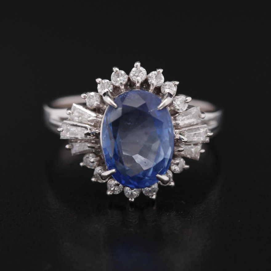 Platinum 3.70 CT Sapphire Ring with Diamond Halo and GIA Report