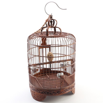 Chinese Decorative Wooden Bird Cage with Snow Owl and Ceramic Feeders