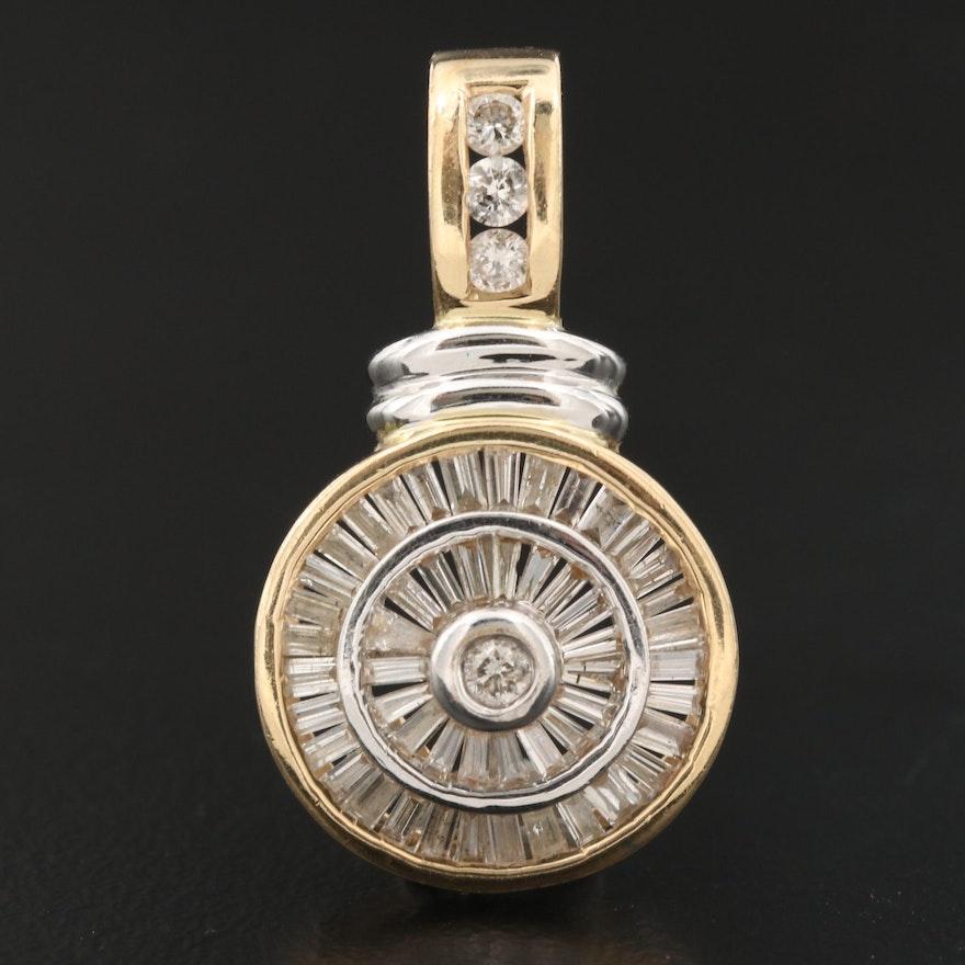 14K Diamond Circular Pendant