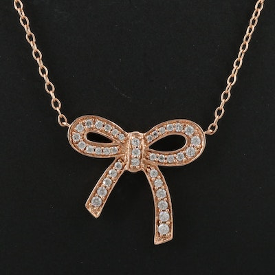 14K Rose Gold Cubic Zirconia Bow Necklace
