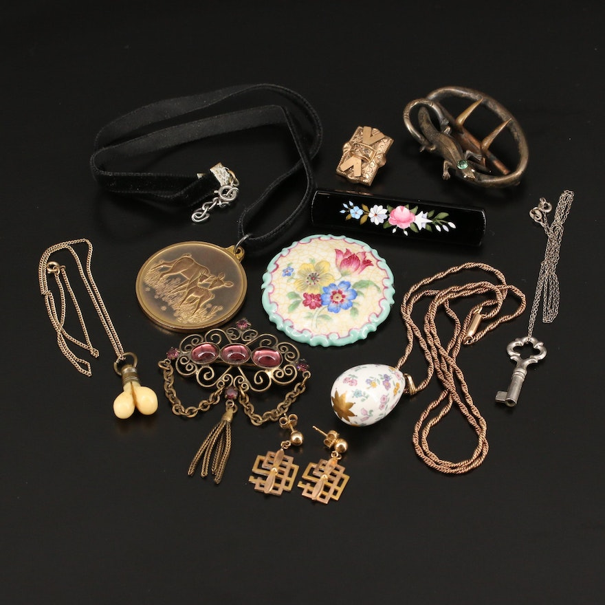 Selection of Jewelry Featuring Antique Lizard Belt Buckle