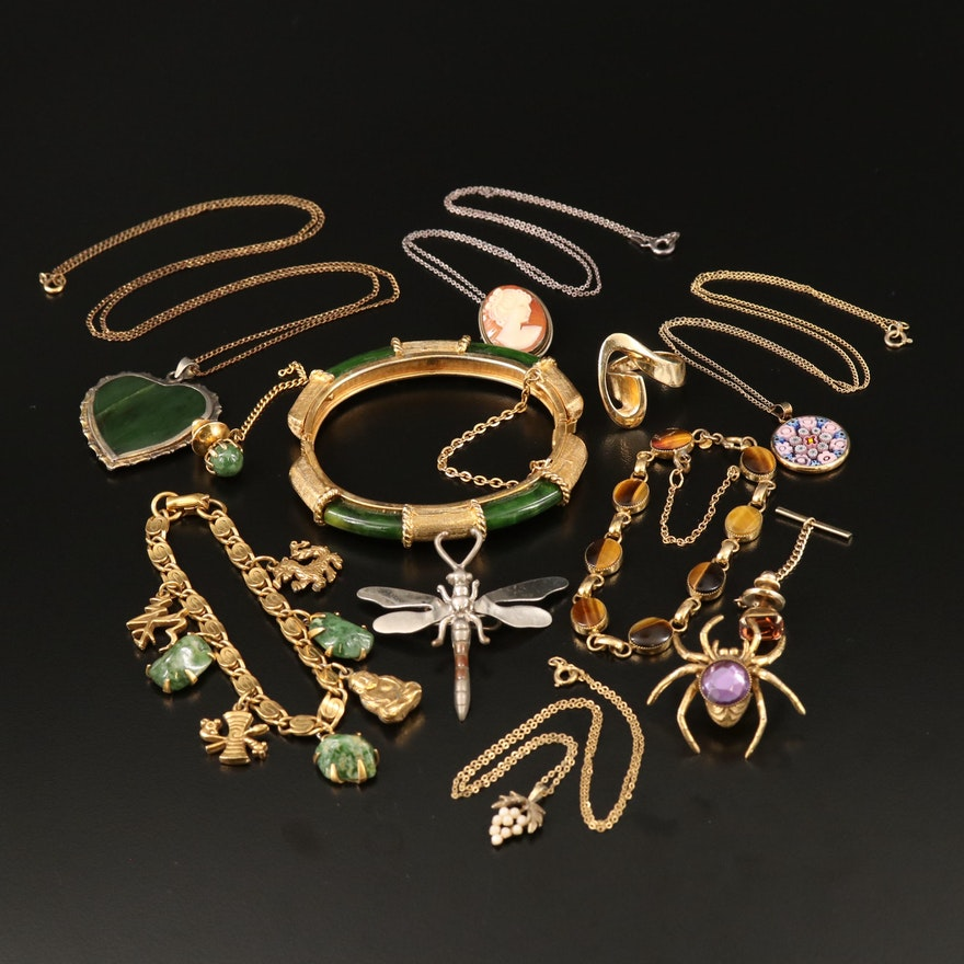 Vintage Jewelry Featuring Wells Gold Filled Bracelet, Sterling, and Millefiori