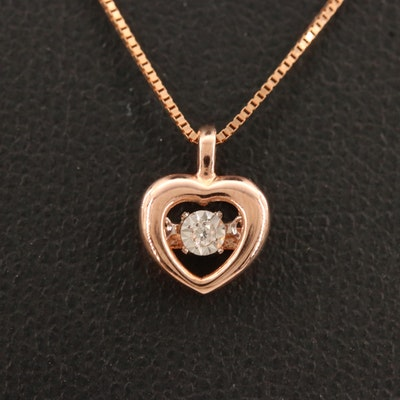 10K Fluttering Diamond Heart Necklace