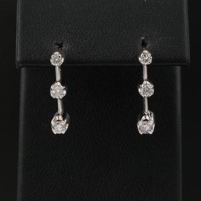 14K Diamond Graduated Drop Earrings