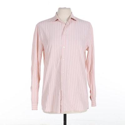 Louis Vuitton Long Sleeve Button Up Shirt in Blush/White Stripe