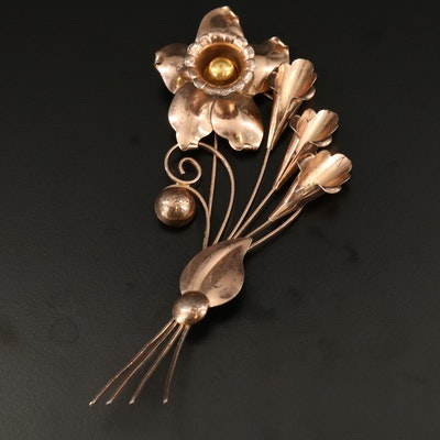 Retro Truart Sterling Bouquet Brooch