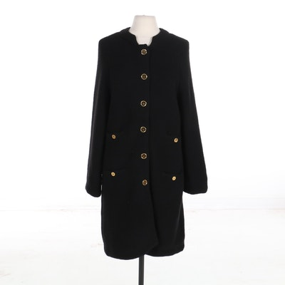 Moschino Button-Front Coat in Black Wool