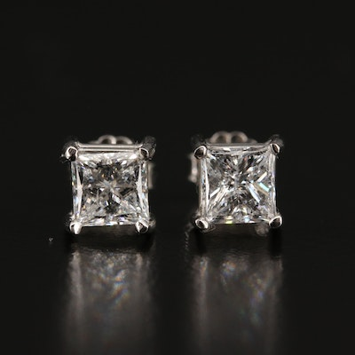 Platinum 1.81 CTW Princess Cut Diamond Stud Earrings with GIA Reports