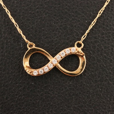 10K Cubic Zirconia Infinity Necklace