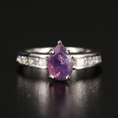 Platinum 1.39 CT Color-Change Kashmir Sapphire and Diamond Ring with GIA Report