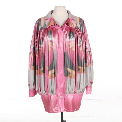 Dino Valiano Printed Metallic Jacket, Made in Western Germany, 1980s Vintage