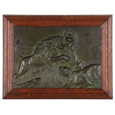 H. Dieckmann Bronze Plaque Relief Sculpture of Lions, Early 20th Century