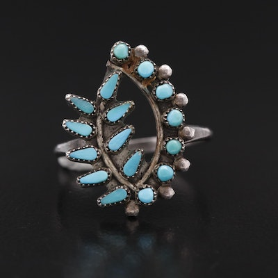 Southwestern Sterling Silver Turquoise Petit Point Ring