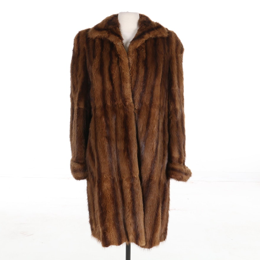 Whiskey Muskrat Fur Coat, Mid-20th Century