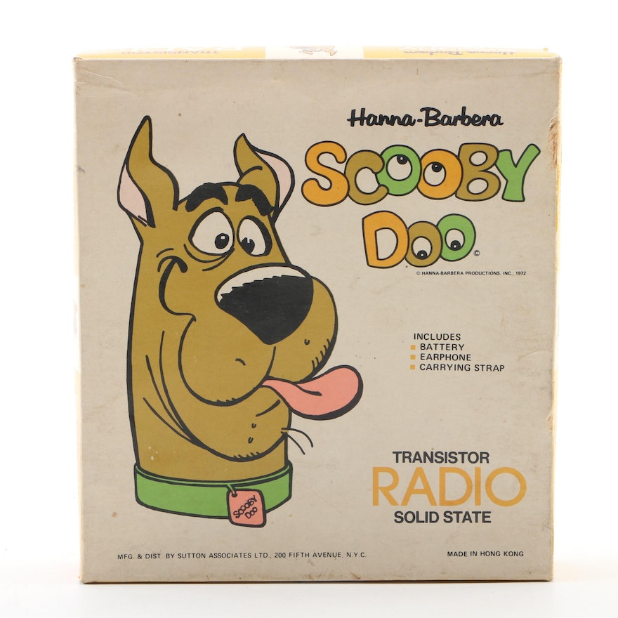 """Hanna-Barbera """"Scooby Doo"""" Solid State Transistor Radio in Packaging, 1972"""