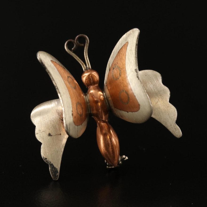 Mexican Casado Metales Sterling Silver Butterfly Brooch