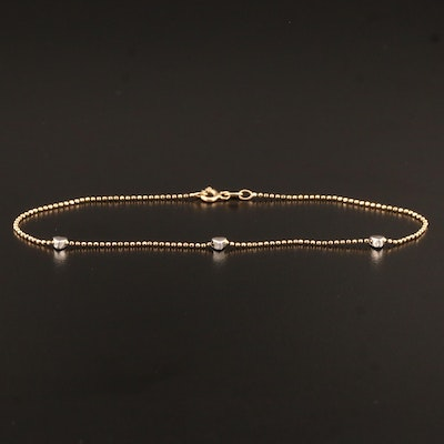 14K Heart and Bead Chain Anklet