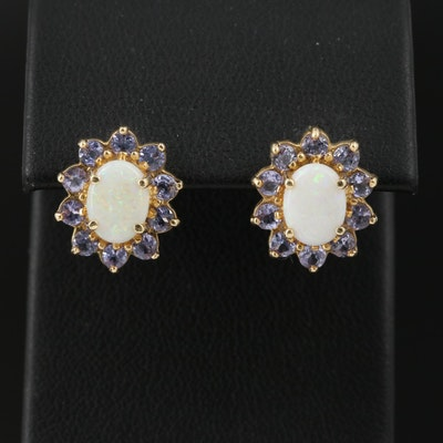 14K Opal with Tanzanite Halo Earrings