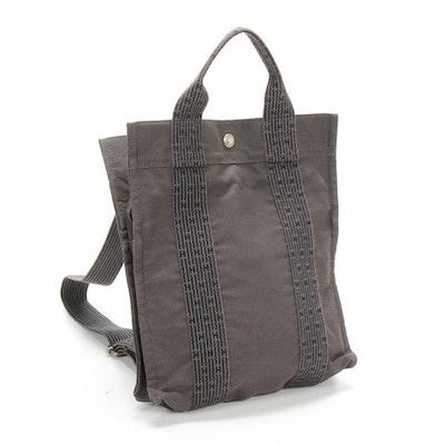 Hermès Herline Backpack Tote Bag in Black/Gray Canvas