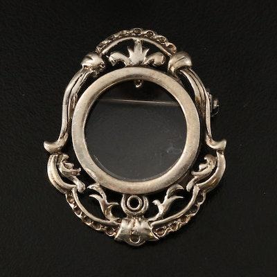 Vintage Sterling Frame Brooch