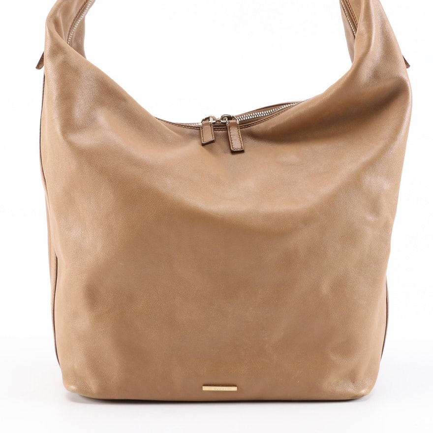 Gucci Large Hobo Bag in Dark Beige Calfskin Leather