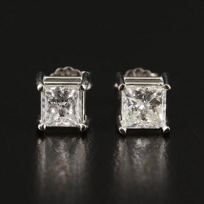 14K Princess Cut  2.10 CTW Diamond Stud Earrings with Digital GIA Report