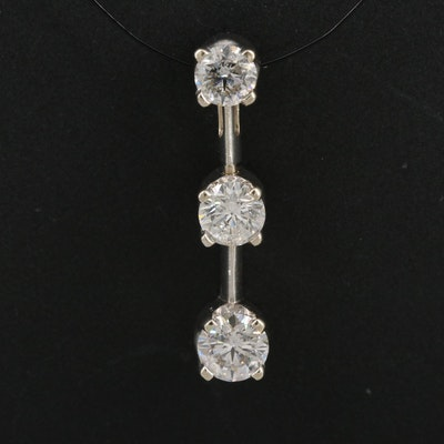 14K 1.00 CTW Diamond Drop Pendant
