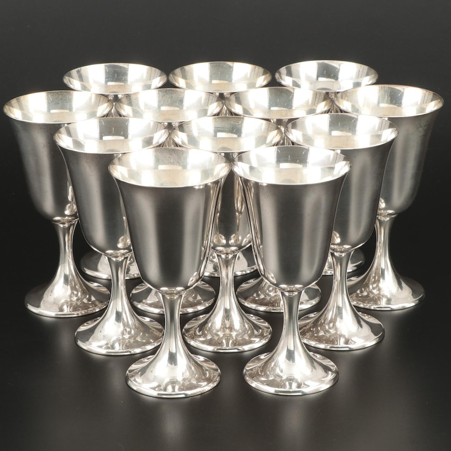 """Gorham """"Puritan"""" Sterling Silver Water Goblets, Early to Mid 20th Century"""