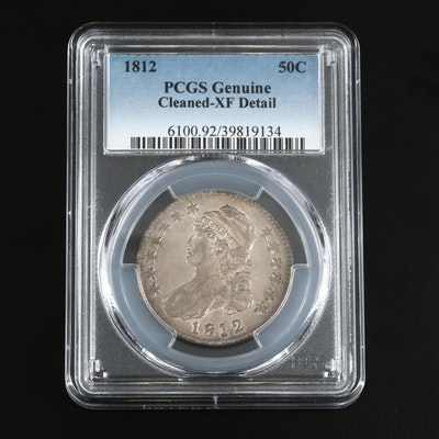 PCGS Genuine XF Detail (Cleaned) 1812 Capped Bust Silver Half Dollar