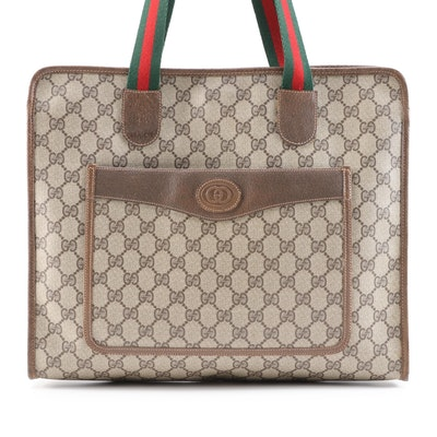 Gucci Accessories Collection Tote in GG Supreme Canvas with Web Straps, Vintage
