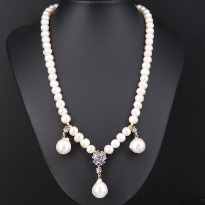 Sterling Pearl and Tanzanite Drop Necklace