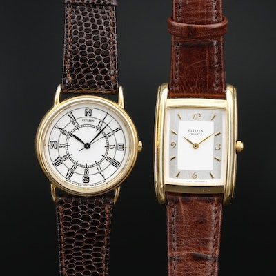 Pair of Citizen Gold Tone Quartz Wristwatch
