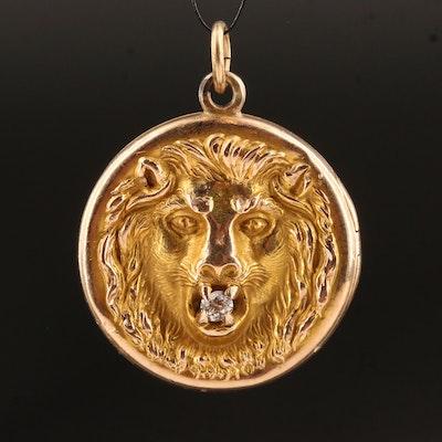 Victorian 10K Diamond Lion's Head Locket