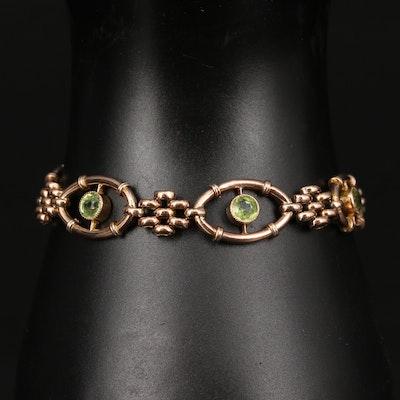 Victorian 9K Peridot Bracelet with Padlock Style Clasp