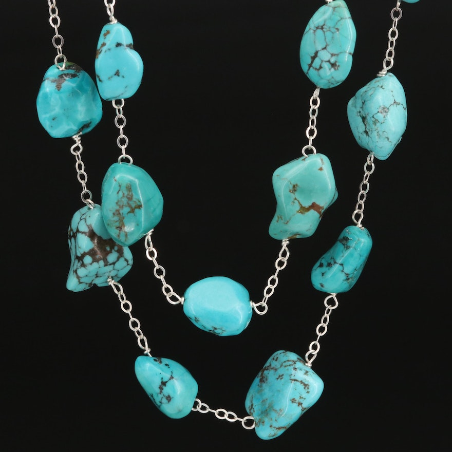 Sterling Silver Turquoise Station Necklace