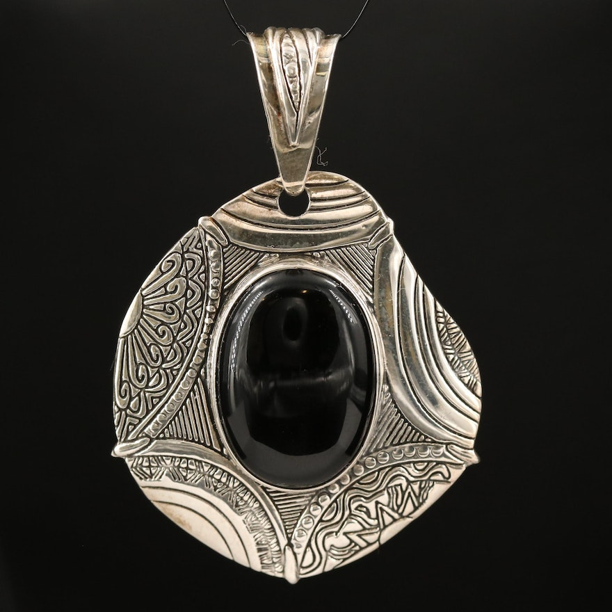 Mexican Sterling Silver Black Onyx Pendant