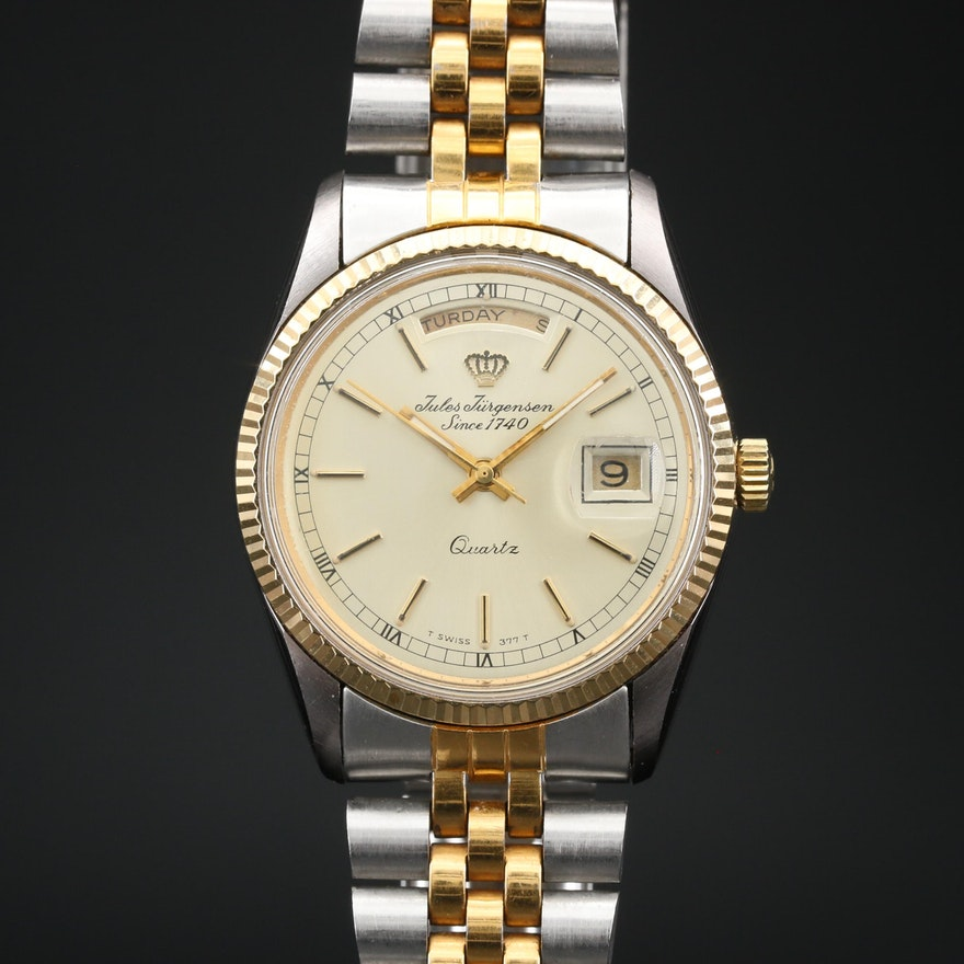 Vintage Jules Jurgensen Day-Date Two Tone Quartz Wristwatch