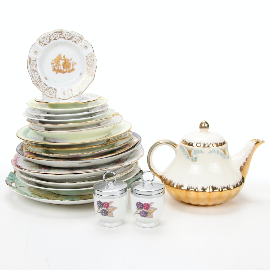 Jean Pouyat Limoges and Other Gilt Porcelain Plates and Serveware