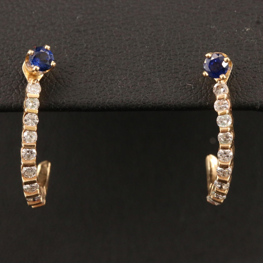 14K Sapphire Stud Earrings with Diamond J-Hoop Jackets