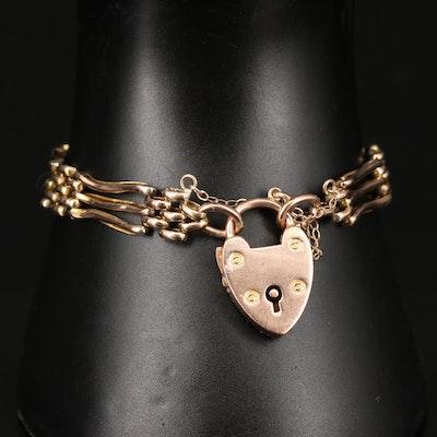 Vintage 9K Gate Bracelet with Heart Lock